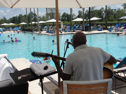 Acoustic Guitarist at Waldorf Astoria Pool