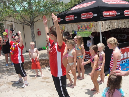 Radio Disney kids dancing at Hilton SummerBlast pool party Orlando