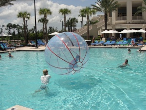 Walking on Water at Waldorf Astoria Orlando swimming pool